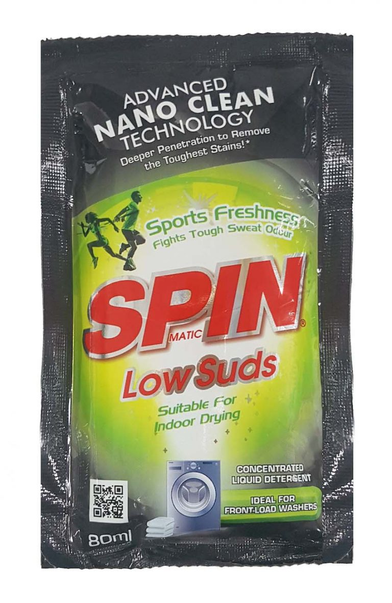 SPINmatic Low Suds Laundry Liquid Detergent (Sports Freshness) 80 ml
